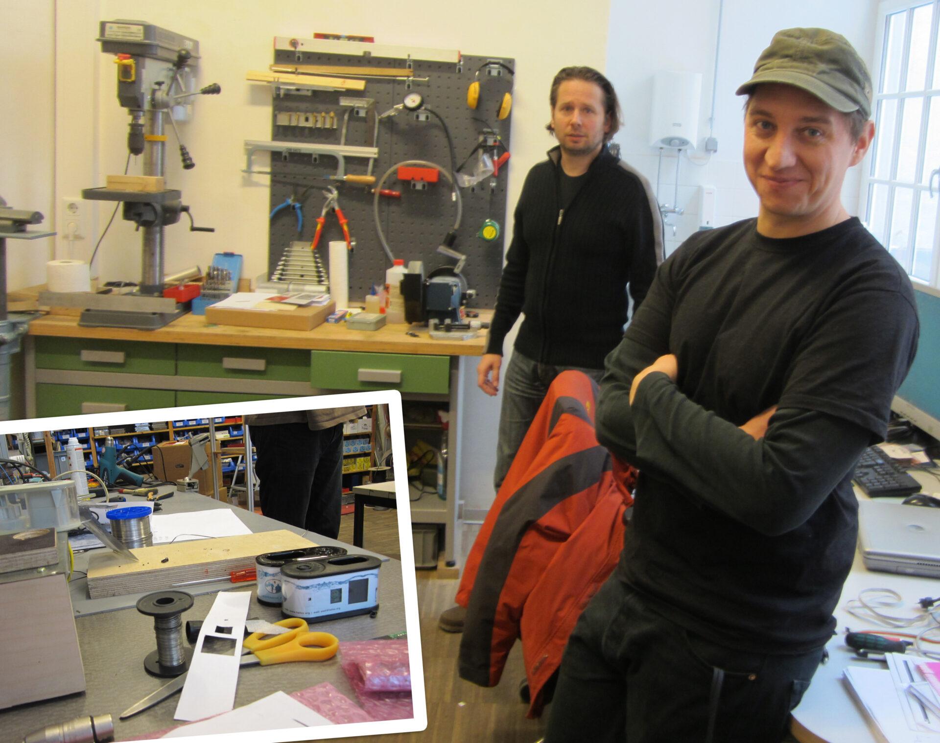 WADI-Erfinder Martin Wesian (r.) in seiner Werkstatt